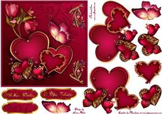"""Valentine s Hearts Galore Card Front with Step by Step on Craftsuprint designed by Karen Adair - This is a 6"""" square card front, with lots of beautiful hearts, pretty flowers and a gorgeous butterfly, all in luscuious deep pink. Decoupage and three sentiment tags are included, one left blank so you can personalise if you wish. If you like this check out my other designs, just click on my name. - Now available for download!"""