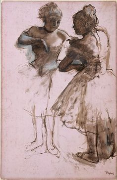 """""""Two Dancers"""" (1873), by French artist - Edgar Degas (1834-1917), Dark brown wash and white gouache on bright pink commercially coated wove paper, now faded to pale pink; 24 1/8 x 15 1/2 in. (61.3 x 39.4 cm.), H.O. Havemeyer Collection, Bequest of Mrs. H.O. Havemeyer, 1929; 29.100.187; On view in Gallery 816 ~ The Metropolitan Museum Of Art - New York, New York, USA."""