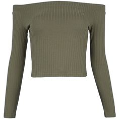 Army Green Off Shoulder Rib Long Sleeve Crop Top (€14) ❤ liked on Polyvore featuring tops, shirts, off the shoulder crop top, off the shoulder tops, off shoulder long sleeve top, olive green crop top and long-sleeve crop tops