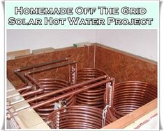 This step by step tutorial of how to build a homemade off the grid solar hot water project is a way to use the sun's rays to heat your home. This off the grid heating source for your home is an advanced DIY project but is one of the greatest way towards self sufficiency from utilities monthly payments. There is a big