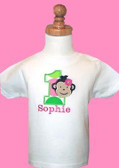 Mod Monkey Girl Birthday T-shirt