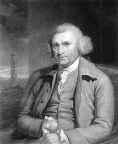 Portrait of John Smeaton, with the Eddystone Lighthouse in the background