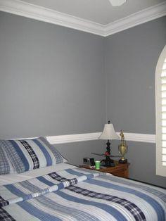 gray walls, white chair rail & ceiling
