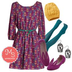In this outfit: A New Dawn, a New Cage Dress, Fashionably Emulate Tights in Teal, Bring It Dawn Hat, How the Caged Bird Swings, Little Bunny Shoe Shoe Flat in Magenta #bright #colorful #bird #putabirdonit #bunny #teal #mustard #ootd