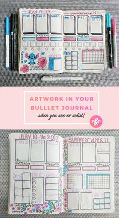 Adding Artwork to your Bullet Journal https://productiveandpretty.com/bullet-journal-artwork/?utm_campaign=coschedule&utm_source=pinterest&utm_medium=Productive%20and%20Pretty&utm_content=Adding%20Artwork%20to%20your%20Bullet%20Journal