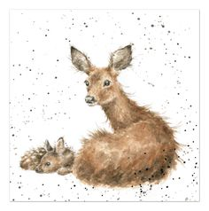 """Art - Deer and Fawn - """"Darling"""" - The Country Set Collection by Wrendale Designs - Hannah Dale Animal Paintings, Animal Drawings, Art Drawings, Watercolor Animals, Watercolor Paintings, Watercolours, Art And Illustration, Wrendale Designs, Photo Images"""