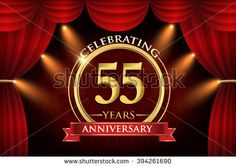 55 years anniversary celebration with red ribbon. Curtain background and light shine. golden anniversary logo. - stock vector
