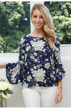 Jacqueline Top in Navy Floral