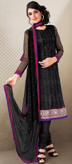 $62.37 Black Cotton Stone Work Long Churidar Salwar Kameez 23945