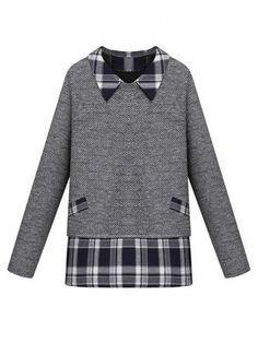 Casual Women Fake Two-piece Lapel Long Sleeve Plaid Patchwork Sweater