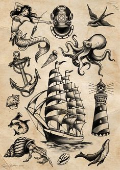 Traditional Nautical Tattoo, Traditional Sailor Tattoos, Traditional Lighthouse Tattoo, Traditional Tattoo Drawings, Traditional Style Tattoo, Traditional Tattoo Old School, Pirate Ship Tattoo Traditional, Traditional Tattoo Sleeves, Traditional Flash
