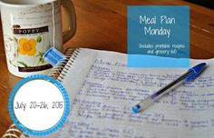Darcie's Dishes: Meal Plan Monday: 7/20-7/26/15 A complete meal plan that covers everything from meals to snacks to beverages for one whole week. The meal plan is printable and includes a printable shopping list as well.