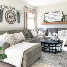 46 Popular Living Room Decor Ideas With Farmhouse Style. 46 Popular Living Room Decor Ideas With Farmhouse Style - hoomdesign. living room decor apartment Check out this great article. My Living Room, Home And Living, Cozy Living, Living Room With Sectional, Living Area, Kitchen Living, Gray Sectional, Living Room Shelf Decor, Living Room Decor Grey Couch