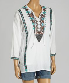 Love this White & Turquoise Tribal Keyhole Top - Women by Como No? by Biz on #zulily! #zulilyfinds