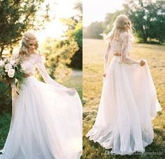 Discount Beach 2018 Crew Robe De Mariee Dress For Bridal Gowns Bohemian Two Piece Long Sleeves Chiffon Lace A Line Elegant Wedding Dresses 18021 Vintage Inspired Dresses Wedding Clothes From Standbymebride, $110.56| Dhgate.Com