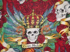 Fabulous Carpe Noctem Skullduggery Print by fabricsandtrimmings