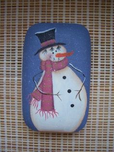 Handpainted Primitive Snowman Soap Bar by Primgal on Etsy, $5.00
