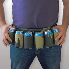 The camo beer belt is suitable attire for a redneck wedding or bachelor party