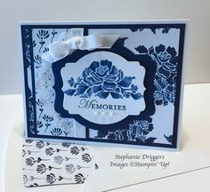 Stampin Up Floral Phrases stamp set. Floral Boutique DSP. Night of Navy and Whisper White card stock.