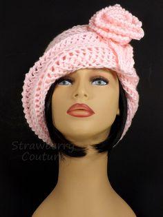 Soft Pink Cloche Hat Soft Pink Crochet Hat Womens Hat