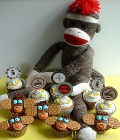 Sock Monkey Cupcakes with Printable Birthday Cupcake Toppers