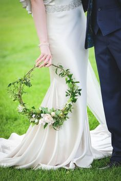 Portrait close up of hoop bouquet held by bride on lawn by Manor House Small Wedding Bouquets, Wedding Wreaths, Bridesmaid Flowers, Bride Bouquets, Wedding Flowers, Winter Wedding Favors, Alternative Bouquet, Bridal Shoot, Chic Wedding