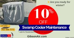 After the harsh summers in Las Vegas its best to schedule swamp cooler maintenance before the first freeze. Coupon good for 10% off service! - swamp cooler maintenance in Las Vegas coupon by gibson air hvac company Henderson   Visit www.gibsonair.com/specials for more money and energy saving deals! #FallMaintenance #HomeMaintenance #WinterPrep