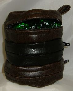Faux Leather Dice Bag Brown and Black Divided Sectioned Pouch Dungeons and Dragons D RPG Role Playing Die Section Miniatures. $14.00, via Etsy.