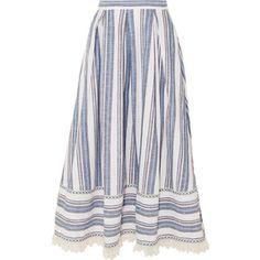 Gül Hürgel Lace-trimmed striped cotton and linen-blend skirt