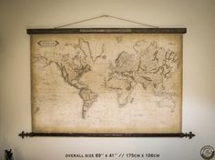 Royal world map 1800 69''x41'' / 175 x 106cm Finials by Zmaps