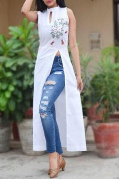 A line kurti - Buy White Pure Linen Embroidered ALine Kurti by Colorauction Online shopping for Kurtis in India Indian Designer Outfits, Indian Outfits, Designer Dresses, Designer Kurtis, Indian Dresses, Dress Indian Style, Indian Wear, Kurta Designs Women, Blouse Designs