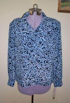 MWT Vintage Women's 100% Polyester Blouse BLEYLE Sz 8 OP $98 Removable Tie L@@K #BLEYLE