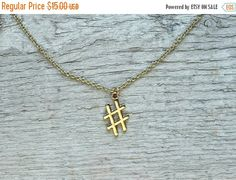 ON SALE Gold hashtag necklace - tiny necklace, # necklace, symbol necklace, hashtag charm, gold layering necklace, delicate necklace * FREE