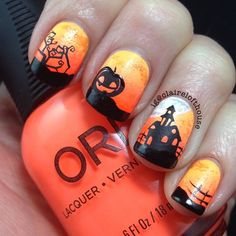 halloween nails haunted house