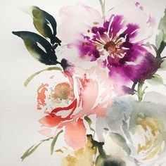 Watery flowers! #watercolorart #watercolor #painting #artistic #art #watercolorpainting #flower #flowerpainting