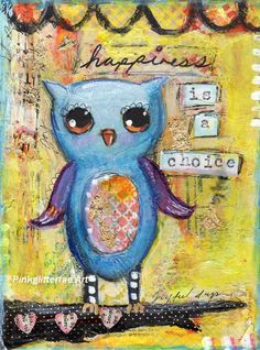 Whimsical Owl mixed media Painting Childrens decor