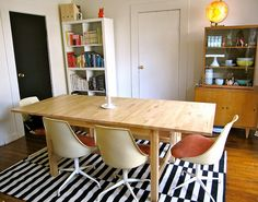 ikea dining table with vintage chairs