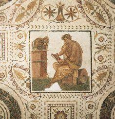 Un poeta compone contemplando le maschere teatrali - III sec. d.C. - Museo del Bardo