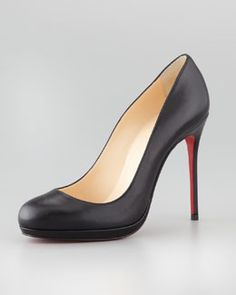 X1G7K Christian Louboutin Filo Leather Red Sole Pump, Black