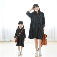 83032582481 Maggie s Walker mother and daughter fashion simple vertical lines long dress  family cotton soft dress family long sleeve dress-in Family Matching Outfits  ...