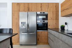 Modern gray concrete and oak kitchen Kitchen Cabinets, Kitchen Appliances, French Door Refrigerator, French Doors, Modern, Concrete, Gray, Home Decor, Diy Kitchen Appliances