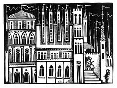 "From ""Die Kinder- und Hausmärchen der Brüder Grimm"", DDR, 1963, illustrated by Werner Klemke Grimm, Book Illustration, Palace, Castle, Artists, Black And White, Animales, Black N White, Black White"
