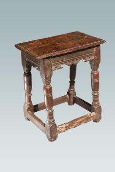 17th century joined oak stool circa 1640, Marhamchurch antiques