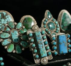 Display of turquoise rings from Greg Thorne now available at the Sawdust Festival.