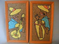 Vintage, Retro, Kitsch, Pebble Art, Gravel Art, Caribbean Dudes with Guitar and Bongo