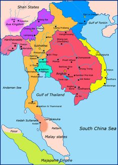 Political map of Southeast Asia circa 1300 CE. Khmer Empire is in red, Lavo… Art Thai, Khmer Empire, Kids English, Asian History, Historical Maps, North Africa, World History, World Heritage Sites, Peta