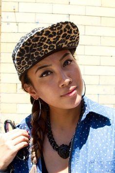 leopard hat and polka dot chambray