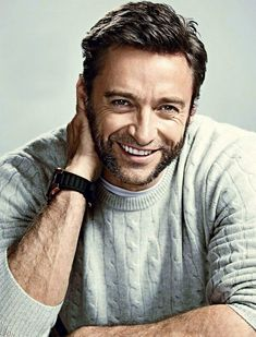 """From the """"Men In Sweaters"""" photo series: Hugh Jackman Hugh Jackman, Hugh Michael Jackman, Jean Valjean, Les Miserables, X Men, Johnny Depp, Hugh Wolverine, Hottest Male Celebrities, Celebs"""