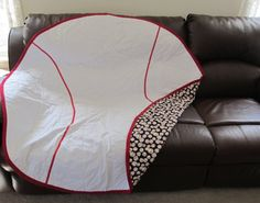 Softball would be awesome! Baseball blanket - I need this for the car for the ride home after the game. When they leave it all on the field, it seems part of the field comes home with us! Baseball Crafts, Baseball Boys, Baseball Party, Softball Mom, Baseball Season, Baseball Stuff, Baseball Quilt, Baseball Nursery, Baseball Wreaths