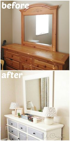 How to use Chalk Paint Tutorial {including a dresser makeover}. From ugly duckling to white swan :)